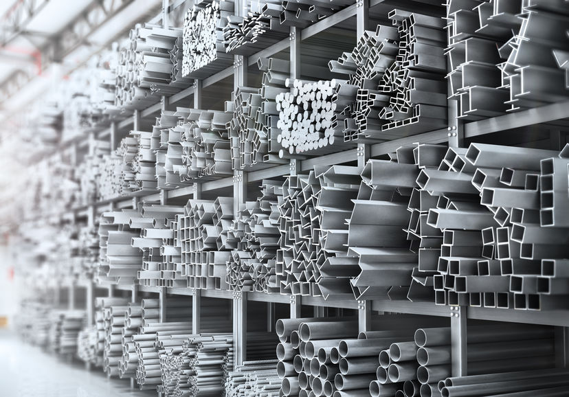 Shelves of different industrial metal products